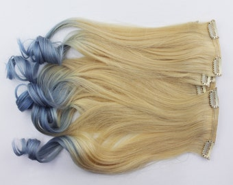 18' Full Set Ombre Blonde to Lavender Human Hair Extensions. Double Wefted, Ombre Blonde to Lavender.