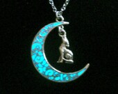 Moon And Wolf Necklace Glow In The Dark Moon Wolf Jewelry Glowing Moon Pendant Necklace Antique Silver (glows aqua blue)