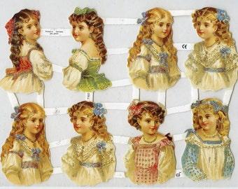Victorian Girls SCRAP RELIEFS - Scrap Reliefs - Girls Die Cuts - Victorian Die Cuts - Victorian Children Die Cuts - Victorian Children