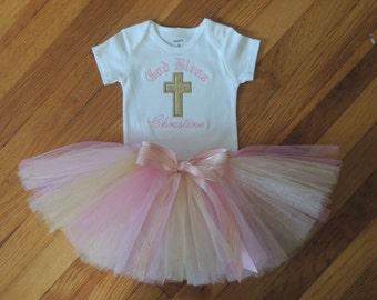 God Bless Personalized Baby Girl's Christening Bodysuit Tutu Set
