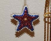 Hand Sequined Red Patriotic Star Ornament