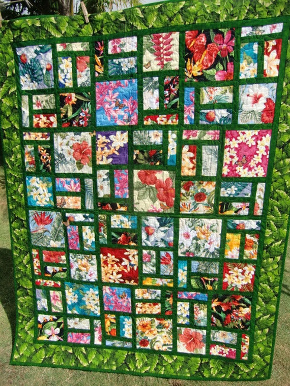 Handmade Scrappy Hawaiian Floral Patchwork By