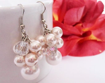 Blush Bridesmaid Jewelry, Pale Pink Pearl Cluster Earrings, Wedding Jewelry