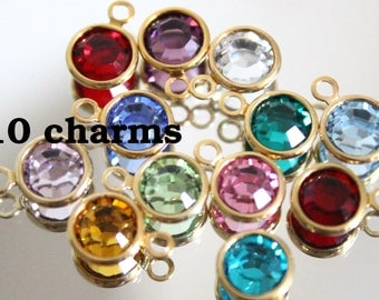 10 (ten) Swarovski crystal birthstone charms, gold plated - 6.5mm - choose any 10