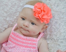 Neon Orange baby headband, flower headband, newborn headband, infant headbands, hair bow, baby hair bow, toddler hair bow,