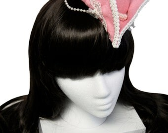 Pirate Lass by Bella Bows - Pink and White Mini Tricorn Pirate Hat - Made to Order