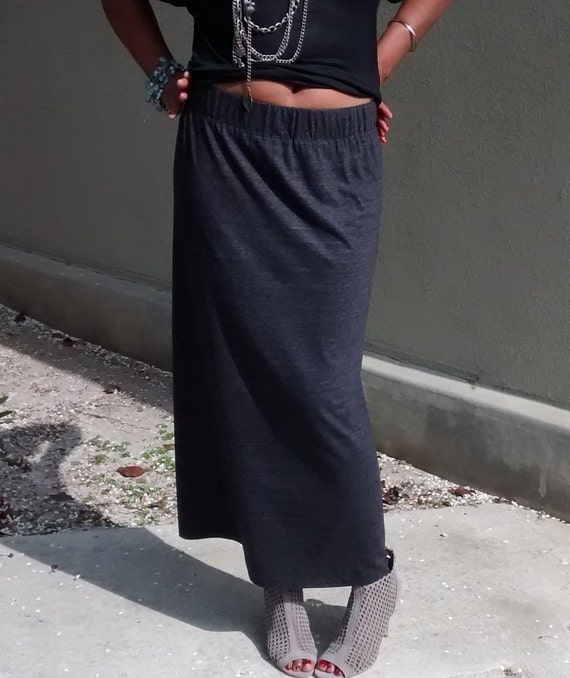 charcoal cotton knit maxi skirt pull on by nakidbird
