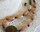 Chunky Beaded Necklace, Aventurine, Green Opal, Jade, .925 Sterling Silver