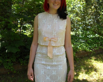 Vintage Jacki O Dress and Jacket Set Pink with White Lace Overlay circa 1950s to 60s