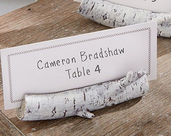 Rustic Wedding Placecards (Set of 24); Birch Wood Decorations; Wedding Placecard Holders; Rustic Wedding Favors