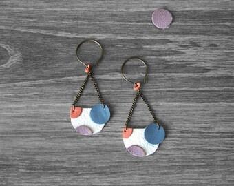 Geometric leather earrings. Dangle earrings. Circle geometric earrings.