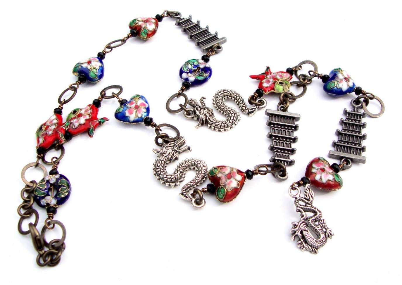 pagoda and necklace with cloisonn 233 lariat