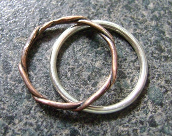 OPPOSITES ATTRACT - Silver and Copper Rings, Stacking Rings, Twisted Metal, Unisex Bands, Mixed Metals, Minimalist Jewelry, Artisan Rings