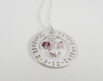 Personalized Mommy Necklace - Circle of Love - Mother Necklace - Washer Style - Sterling Silver Family necklace