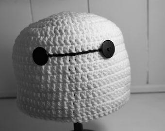 Cartoon Robot Beanie, Crochet Big Hero Cap, Baby, Child, Teen or Adult, Super Hero Costume Hat, Birthday Gift Idea, Halloween Costume Hat