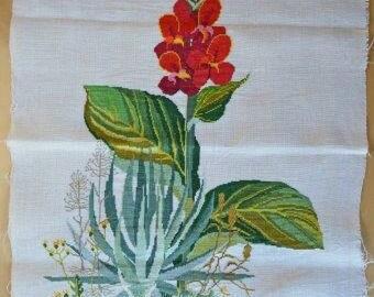Vintage Floral Needlepoint Work On Linen