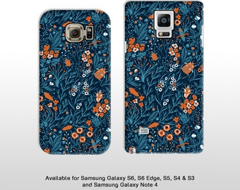Samsung Galaxy S6 edge S5 & Note 4  5 Blue blooms flora pattern with beetles phone case samsung s4 s3 FP089