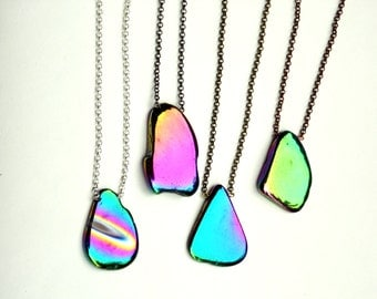 Rainbow Aura Titanium Agate Slice Necklace | Layering | Customization Options | Choose chain type and length.