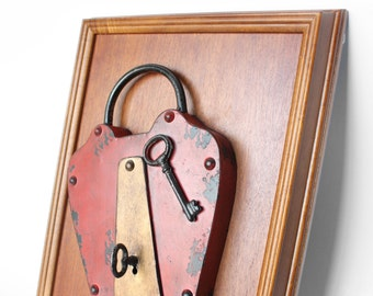 Red Rustic Metal Padlock on Wood - Home Decor, Wall Art, Frame, For the Home, Unique Gifts