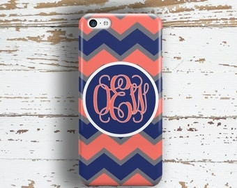 Tech fashion, Monogram phone case, Chevron Personalized Protective, Fits iPhone 4/4s 5/5s 6/6s 7 8 5c SE X and Plus, Coral navy gray (9892)