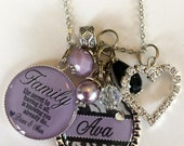 Personalized Family GIFT, Personalized name inspirational quote for family member key chain necklace nana gigi mom grandaughter aunt