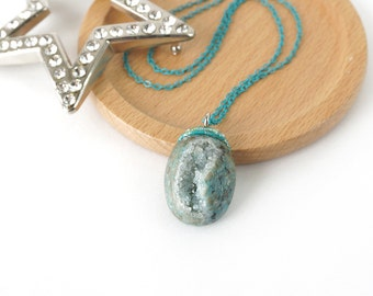 Blue Turquoise Drusy Stone Necklace, One-Of-A-Kind Geode Crystal Jewelry from Indonesia