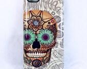 Unusual iPhone 5 5s Tough Case - Sugar Skull Bone Paisley - Artistic iPhone 5 Case With Dia De Los Muertos Artwork