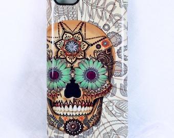 Skull iPhone 5 5s SE Tough Case - Sugar Skull Bone Paisley - Artistic iPhone 5s Case With Dia De Los Muertos Artwork
