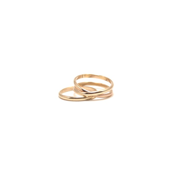 14k Solid Gold Infinity plus One Ring Set - Wedding and Engagement Ring Set