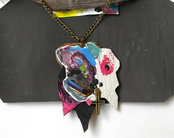 Statement Leather Necklace with Blue Raw Crystal, Contemporary Jewelry, Hand painted Paper Necklace, Collage Necklace, Funky Artist Necklace
