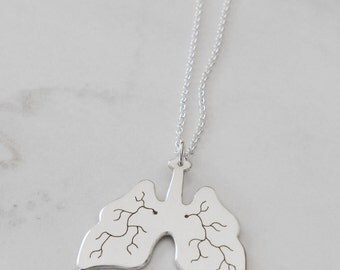 Handmade Sterling Silver Lungs Necklace, Recycled Eco-friendly Silver Lungs, Lungs Charm, Transplant Gift