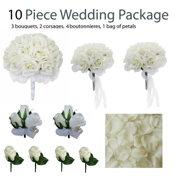 10 piece wedding package silk wedding flowers bridal. Black Bedroom Furniture Sets. Home Design Ideas