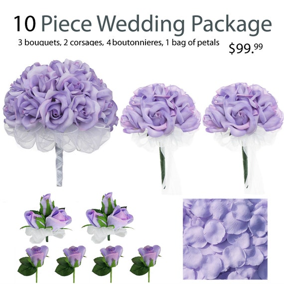 Wedding Bouquet Packages Silk : Piece wedding package silk flowers lavender