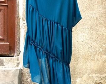 ONE SIZE  Maxi Dress / Teal Kaftan / Extravagant Long Chiffon Dress / Party Dress / Daywear Dress by AAKASHA A03258