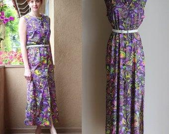 SALE Vintage 70s Boho Maxi Dress - Sleeveless Floral Paisley Hippie Beach Dress - Long Psychedelic Flower Child Dress with Slit - Size Large