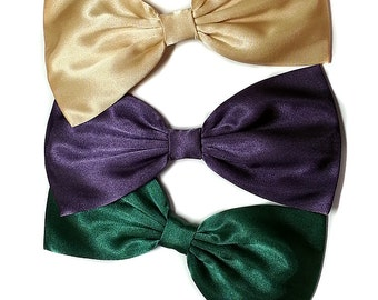 Large Satin Hair Bow- Butter Yellow- Deep Purple- Dark Green Hair Bow-