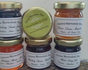 Six Sample Jam Set / Jam Gift  Set / CIJ/ READY to SHIP/Jam- Marmalade / 6 Mini Samples/ In stock/ 1.5 oz Each