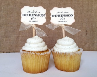 12 Customizable Mr. and Mrs. Wedding Cupcake Toppers