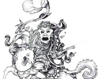 Kami of the Broken Flower.  Ink drawing depicting a contemporary protective spirit.