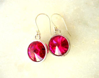 Fuchsia earrings/ Swarovski crystal earrings/ Swarovski rivoli earrings/ Drop earrings/ glam earrings/ crystal earrings/ bridesmaid gift