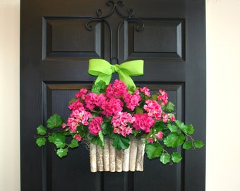 summer wreaths spring wreath pink geranium for front door wreaths outdoors wreath birch bark vases welcome wreaths home decor,