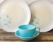 Pastel Blue Melamine Cup + Matching Fruit Dish and Floral Dinner Plates Melmac Mallo Ware Pastel Colors