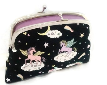 Black unicorn wallet, kiss lock purse with mythical creature, hearts rainbows, coin pouch with 2 compartments, pink, lilac