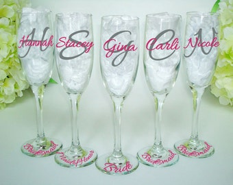 5 Bridesmaid Glasses - Bridesmaid Champagne Flute - Monogrammed Toasting Flutes - Wedding Party Flutes - Bride and Bridesmaid Glasses