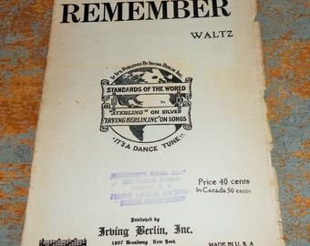 "Vintage Music Sheet, ""Remember"", Waltz,  Piano, Irving Berlin, Old, Music Score, Sheet Music, Piano Music, Trumpet"