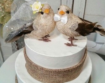 SALE CHOOSE YOUR female head flower wedding  gold and brown love birds  wedding anniversary cake topper