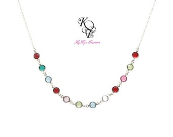 Swarovski Birthstone Necklace - Mothers Necklace - Birthstone Jewelry - Mom Gifts - Grandma Necklace - Personalized Birthstone Necklace