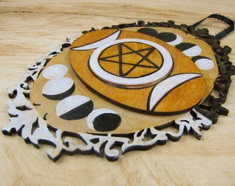 Triple Goddess Moon Phases and Pentacle Plaque for Pagan Wicca Magic Goth Occult use or display