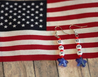 Patrioric Earrings, red white and blue , USA, silver colored Earwire,  Americana, America