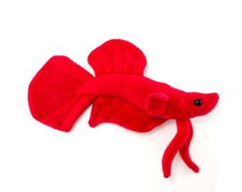 Red Betta Fish Stuffed Animal Plush Toy - Plakat Tail Type Betta - MADE TO ORDER
